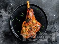 Печено козе месо на фурна с пресен лук и джоджен - снимка на рецептата